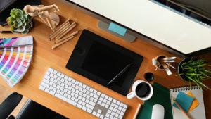 Graphic design studio workspace for professional event